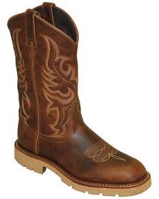 Abilene Men's Textured Hide Western Boots - Wide Square Toe, Brown, hi-res