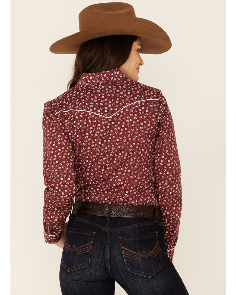 Roper Women's Classic Burgundy Floral Print Long Sleeve Snap Western Core Shirt , Burgundy, hi-res