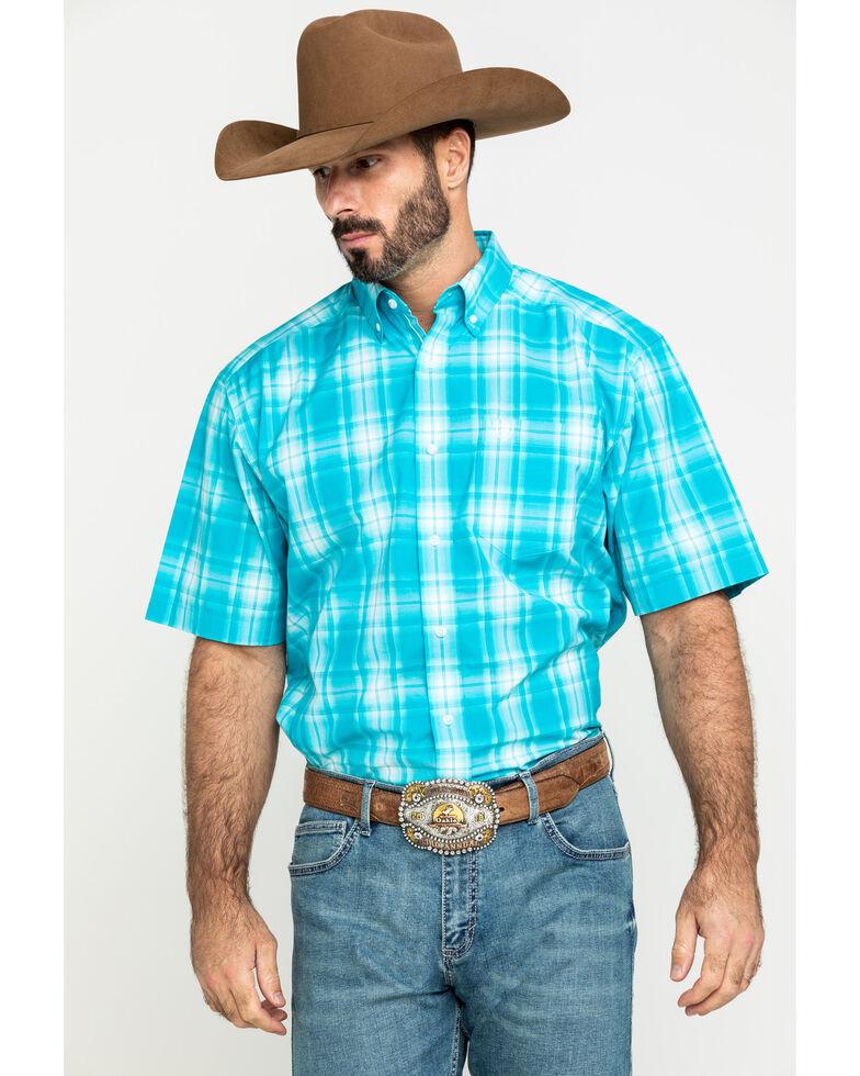 Ariat Men's Kentfield Med Plaid Short Sleeve Western Shirt , Blue, hi-res