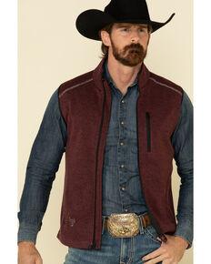 Cowboy Hardware Men's Burgundy Simple Fleece Vest, Burgundy, hi-res