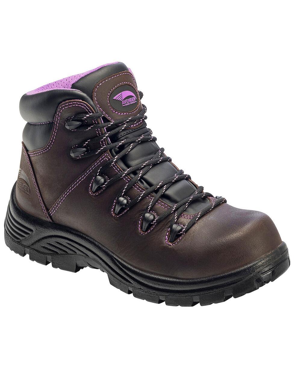 Avenger Women's Waterproof Hiker Boots - Composite Toe, Brown, hi-res