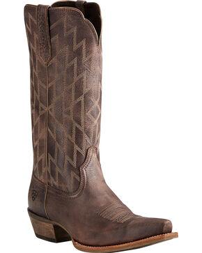 Ariat Women's Chocolate Heritage Southwestern Boots - Snip Toe , Chocolate, hi-res