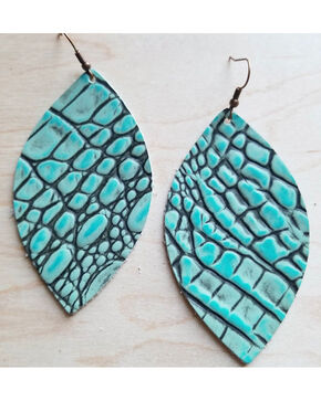 Jewelry Junkie Women's Turquoise Oval Gator Print Leather Earrings, Turquoise, hi-res