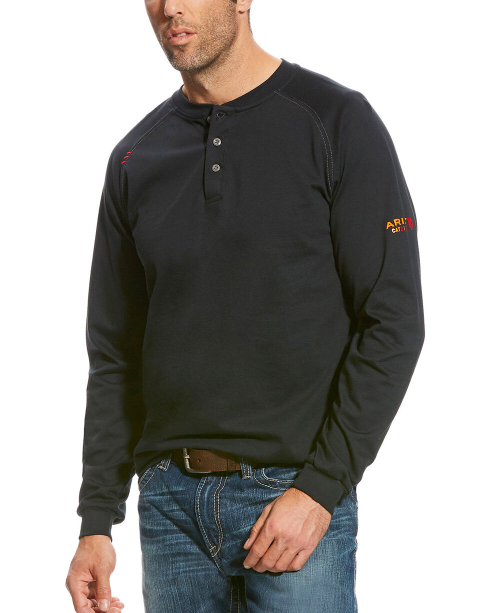 Ariat Men's Black FR Long Sleeve Henley Shirt , Black, hi-res