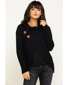 White Label by Panhandle Women's Black Crossover Cowl Sweater, Black, hi-res