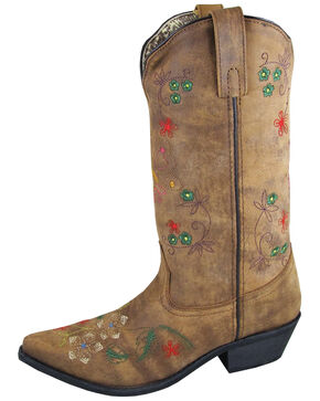 """Smoky Mountain Women's 11"""" Florence Western Boots - Snip Toe, Distressed Brown, hi-res"""