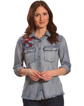 Billy T Women's Floral Embroidered Long Sleeve Denim Shirt, Blue, hi-res