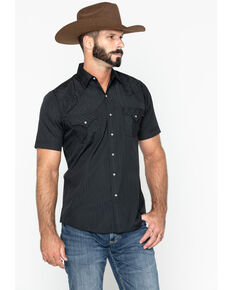 Ely Walker Men's Black Tone On Tone Stripe Short Sleeve Snap Western Shirt - Tall , Black, hi-res