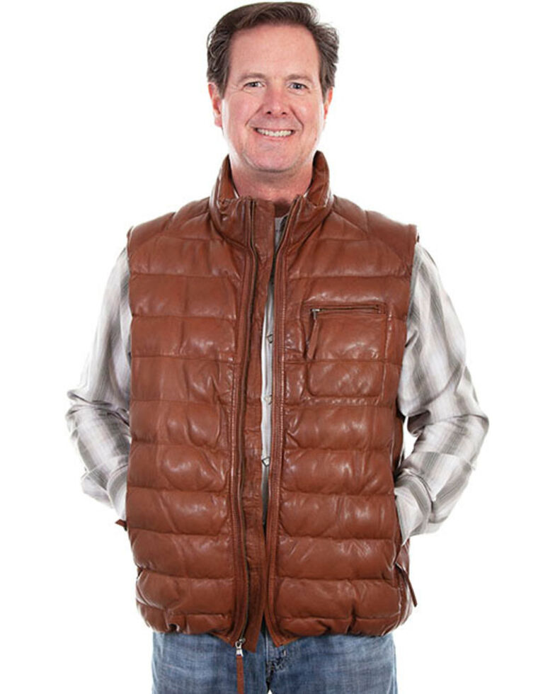 Scully Men's Ribbed Leather Black Vest, Cognac, hi-res