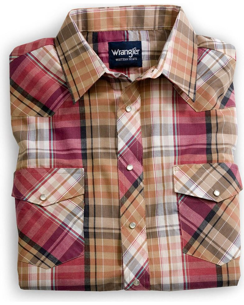 Wrangler Men's Assorted Stripe or Plaid Classic Long Sleeve Western Shirt, Plaid, hi-res