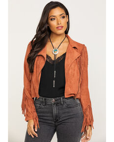 Flying Tomato Women's Rust Suede Fringe Zip Jacket  , Rust Copper, hi-res