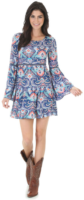 Wrangler Rock 47 Women's Navy Print Crochet Inset Dress, Navy, hi-res
