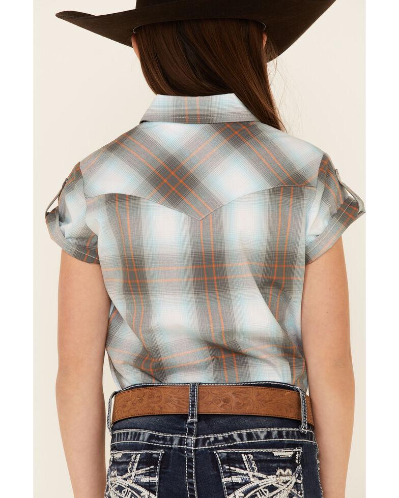 Amarillo Girls' Copper Ridge Dawn Plaid Short Sleeve Snap Western Shirt , Grey, hi-res