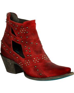 Lane Women's Red Studs & Straps Fashion Booties - Snip Toe , Red, hi-res