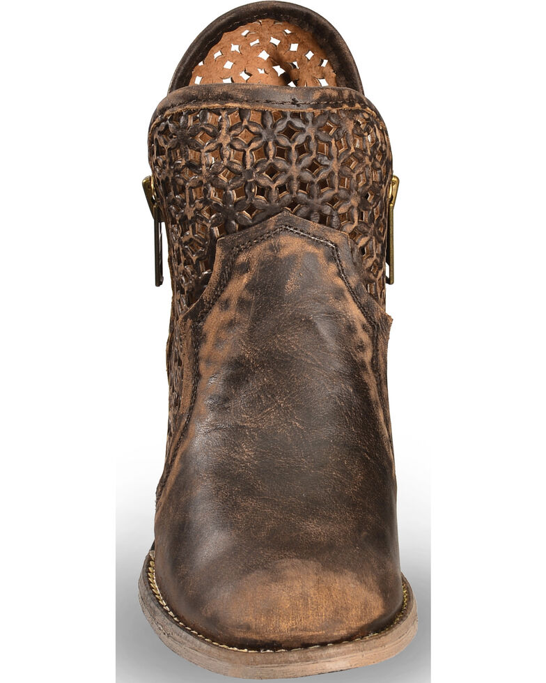 Circle G Women's Brown Cut-Out Short Boots - Round Toe, Brown, hi-res