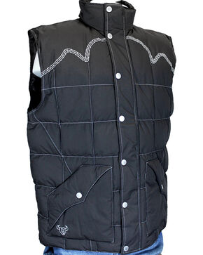 Cowboy Hardware Men's Triple Barbwire Vest, Brown, hi-res