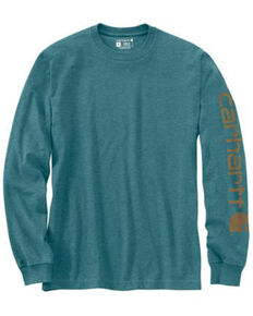 Carhartt Men's Heather Grey Logo Heavyweight Graphic Long Sleeve Work T-Shirt - Tall , Blue, hi-res
