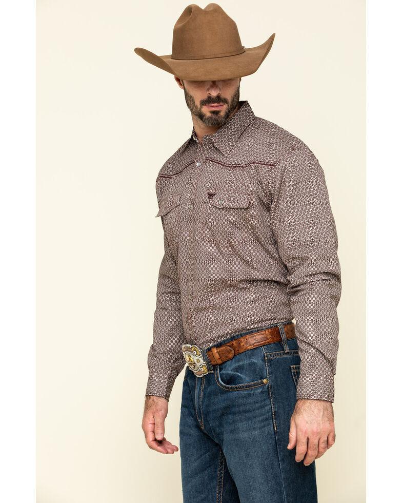Cowboy Hardware Men's Burgundy Honeycomb Geo Print Long Sleeve Western Shirt , Burgundy, hi-res