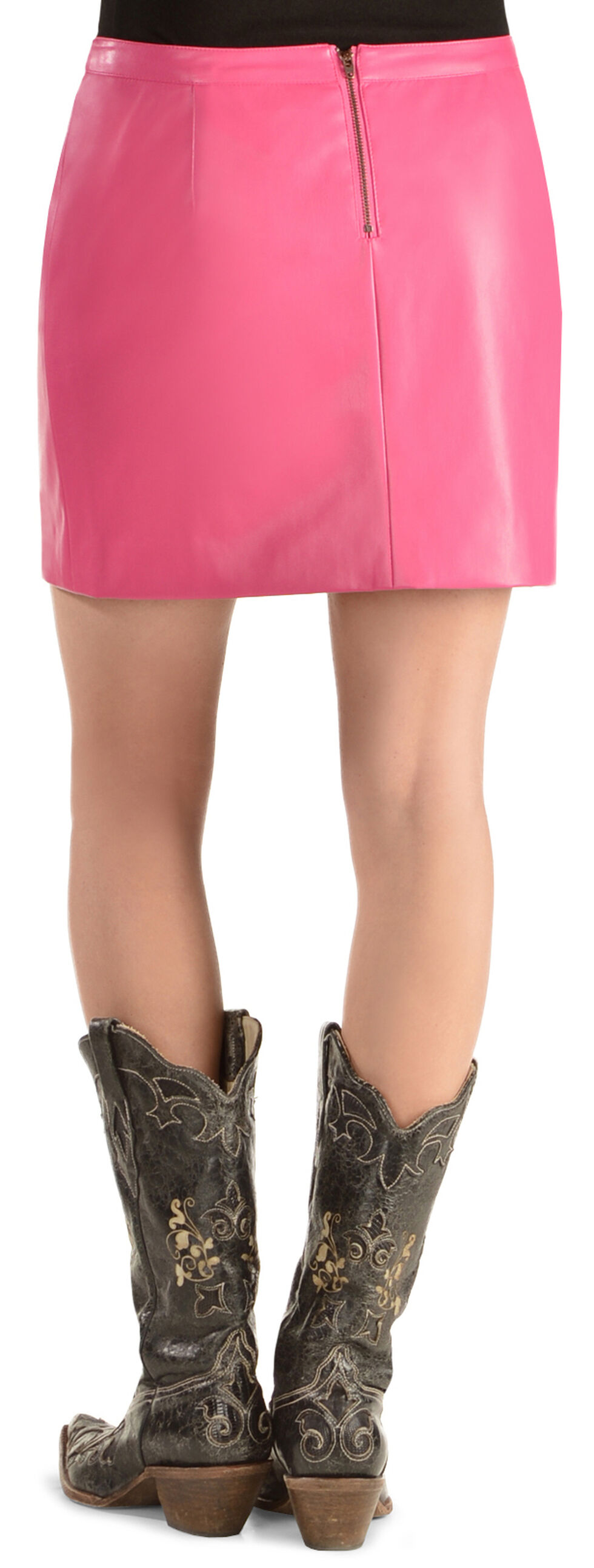 Cowgirl Justice Women's Korey Pink Faux Leather Skirt, Pink, hi-res