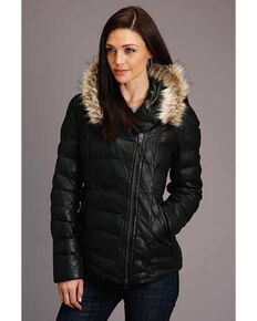 Stetson Women's Leather Quilted Fur Hood Jacket  , Black, hi-res