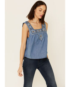 Wrangler Retro Women's Americana Chambray Embroidered Neck Tank Top , Blue, hi-res
