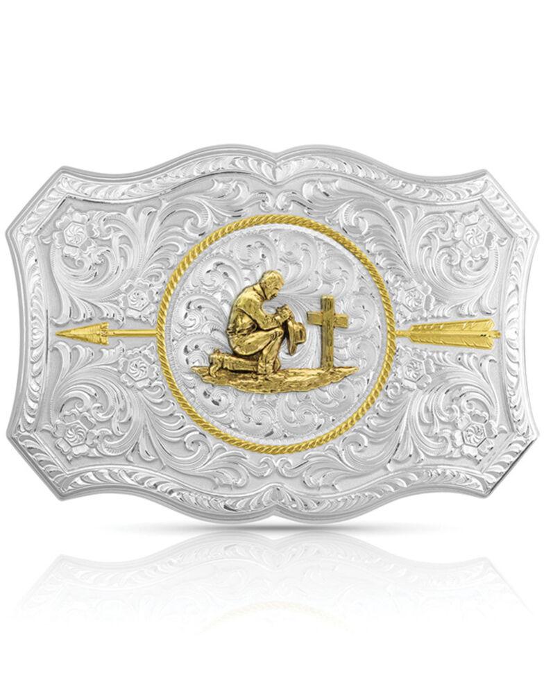 Montana Silversmiths Men's Your Arrow Buckle With Praying Cowboy, Silver, hi-res