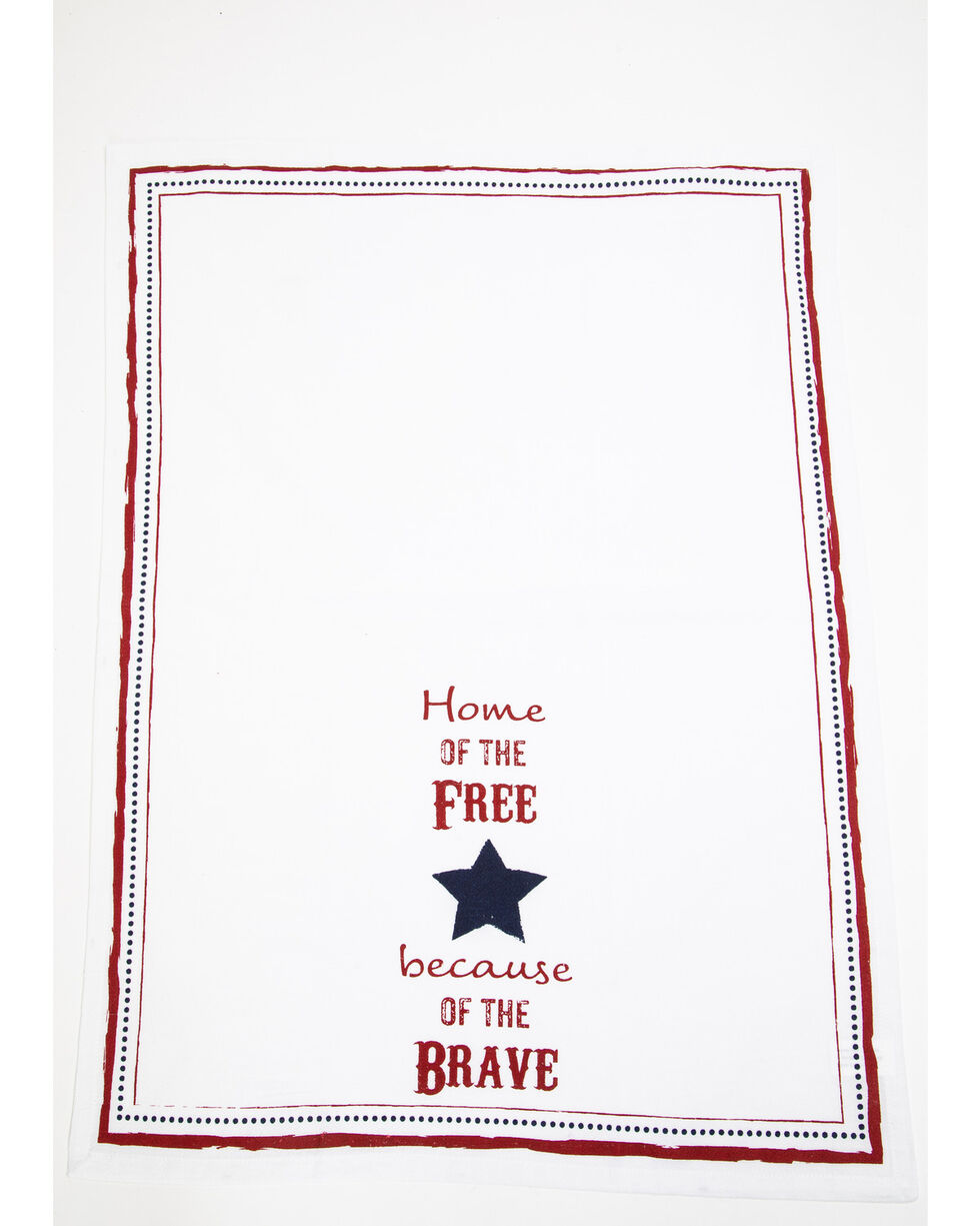 BB Ranch Home Of The Free Tea Towel, White, hi-res