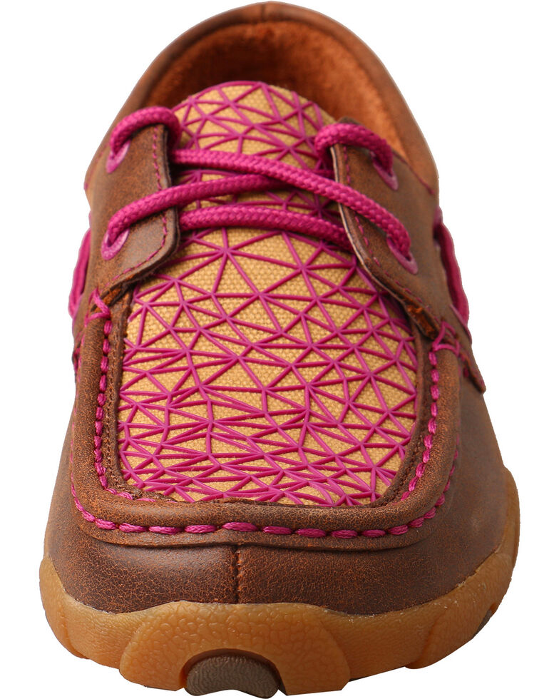 Twisted X Women's Bomber Brown Pink Driving Mocs - Moc Toe, , hi-res