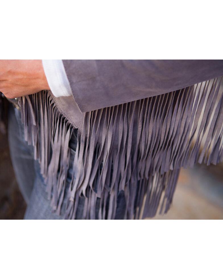 Ryan Michael Women's Grey Fringe Sleeve Suede Jacket , Grey, hi-res