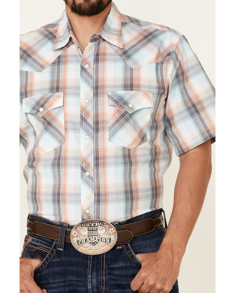 Wrangler 20X Men's Multi Plaid Short Sleeve Snap Western Shirt , Multi, hi-res