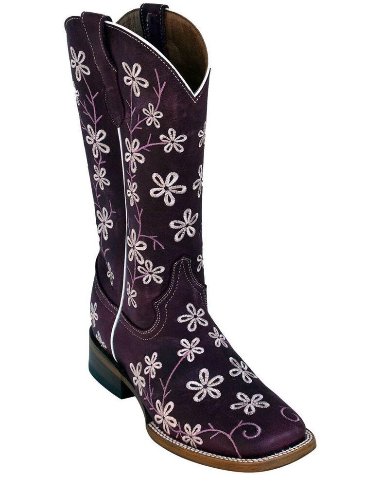 Ferrini Women's Purple Bloom Western Boots - Square Toe, Purple, hi-res