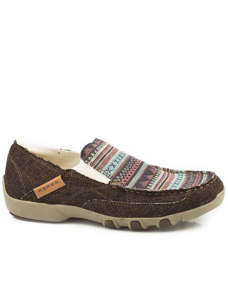 Roper Women's Johnnie Southwestern Stitch Casual Shoes - Moc Toe, Tan, hi-res
