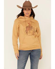 Cowgirl Tuff Women's Mustard Retro Rodeo Graphic Hooded Sweatshirt , Mustard, hi-res