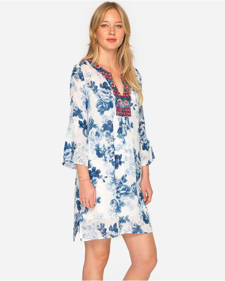 Johnny Was Womens Blue Flare Sleeve Tunic Dress Plus Size