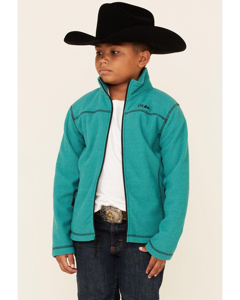 Powder River Outfitters Boys' Jade Honeycomb Performance Zip-Front Fleece Jacket , Jade, hi-res