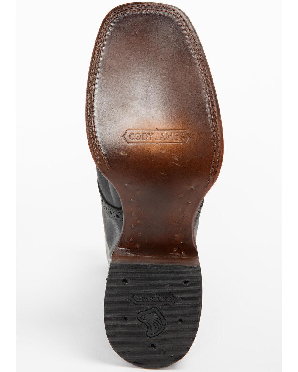 Cody James Men's Saddle Western Boots - Wide Square Toe, Black, hi-res