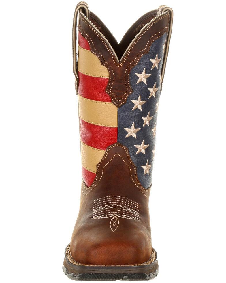 Durango Women's Lady Rebel Patriotic Flag Work Boots - Steel Toe, Brown, hi-res
