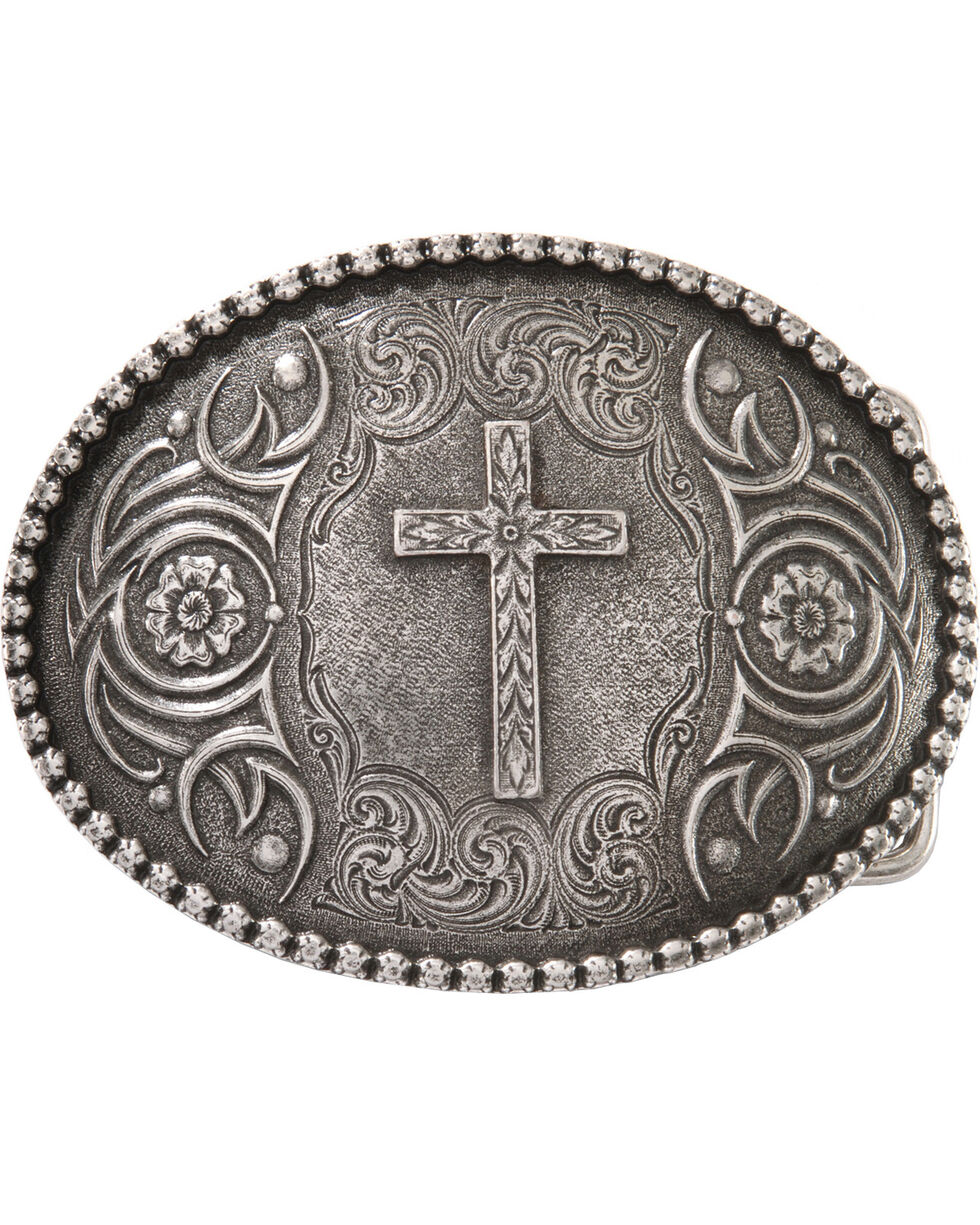 Montana Silversmiths Antiqued Cross Buckle, Silver, hi-res