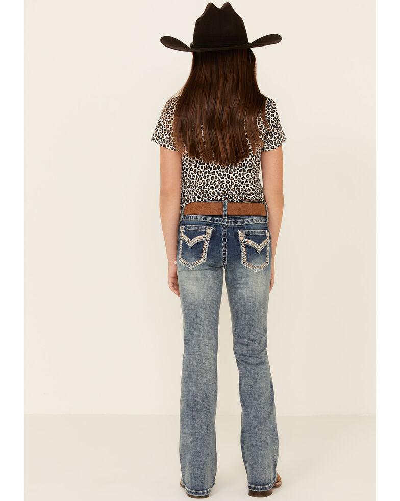 Grace In LA Girls' Border Stitched Embellishment Pocket Bootcut Jeans , Blue, hi-res