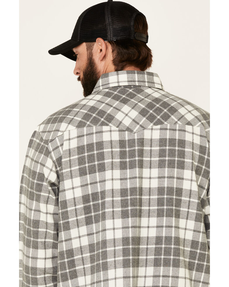 Cotton & Rye Outfitters Men's Grey Plaid Long Sleeve Western Flannel Shirt , Grey, hi-res