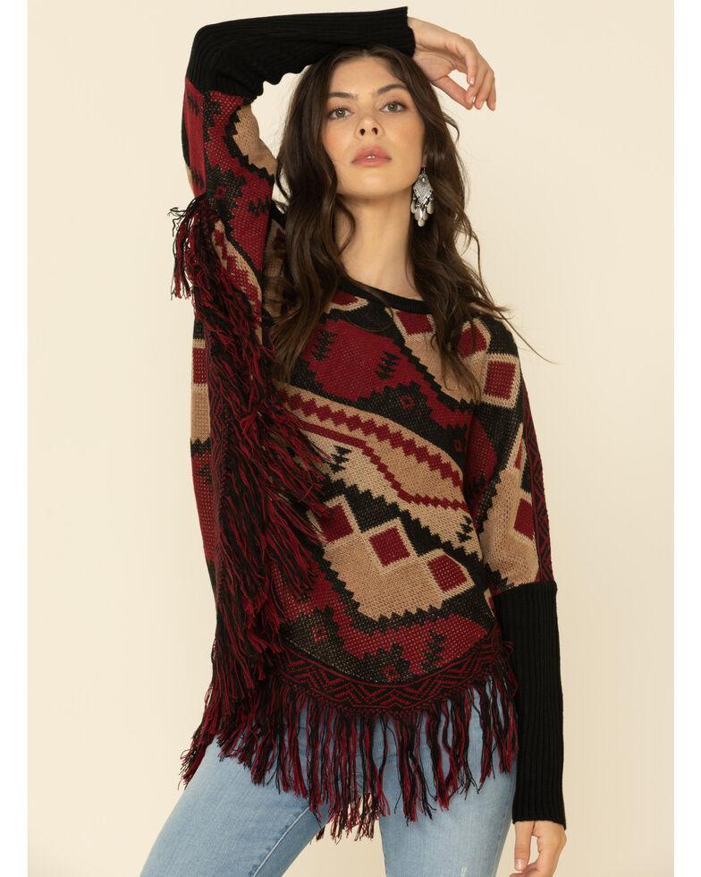 Joesph Studio Women's Combo Aztec Fringe Sweater , Burgundy, hi-res