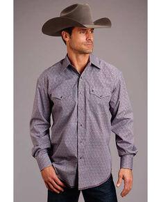 Stetson Men's Wine Victorian Foulard Geo Print Long Sleeve Western Shirt , Burgundy, hi-res