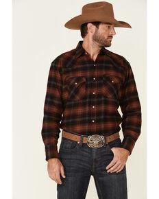 Ely Walker Men's Burgundy/Navy 8.5 oz. Brawny Flannel Long Sleeve Western Shirt , Burgundy, hi-res