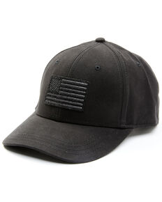H3 Sportsgear Men's Solid Black American Flag Patch Ball Cap , Black, hi-res