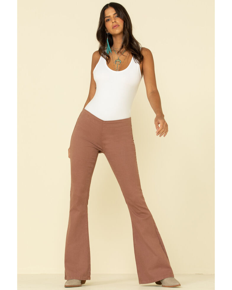 Rock & Roll Denim Women's Dusty Rose Pull on Flares, Rose, hi-res