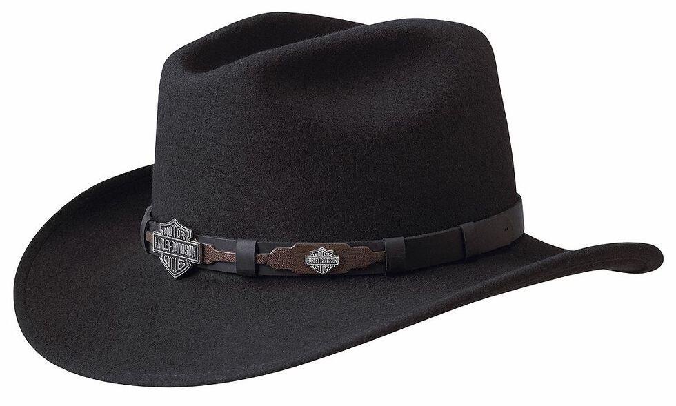 Harley Davidson Leather Overlay   Concho Wool Felt Crushable Cowboy ... 4776f6e5f17