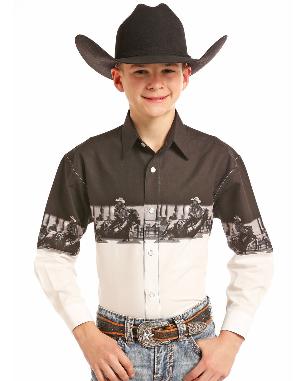 Panhandle Boys' Rodeo Scenic Border Snap Long Sleeve Western Shirt, Black, hi-res
