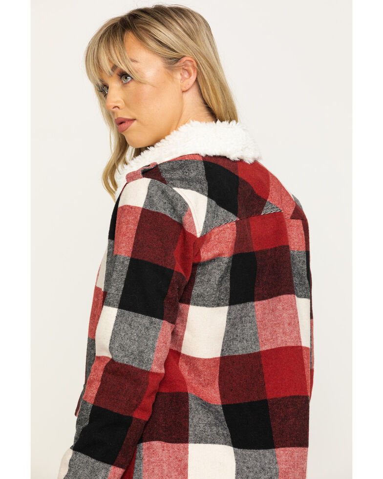 Shyanne Life Women's Red Buffalo Plaid Flannel Jacket, Black/red, hi-res