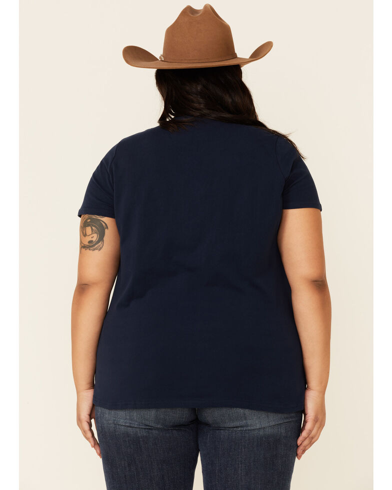 Ariat Women's R.E.A.L Navy Unbridled Short Sleeve Graphic Tee - Plus, Navy, hi-res