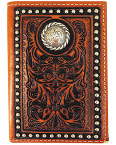 Roper Men's Tan Tri-Fold Tooled Wallet , Tan, hi-res